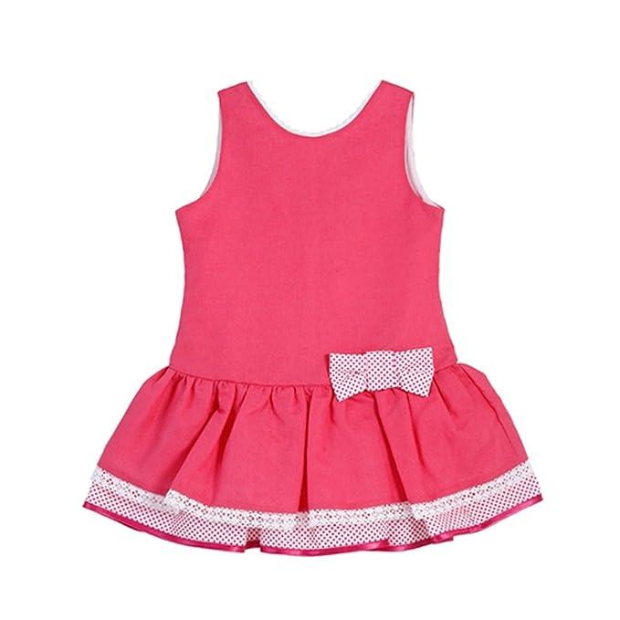 Vestido niña rosa fucsia FERIA _ vestido niña tirantes, vestidos niña bonitos, vestido niña