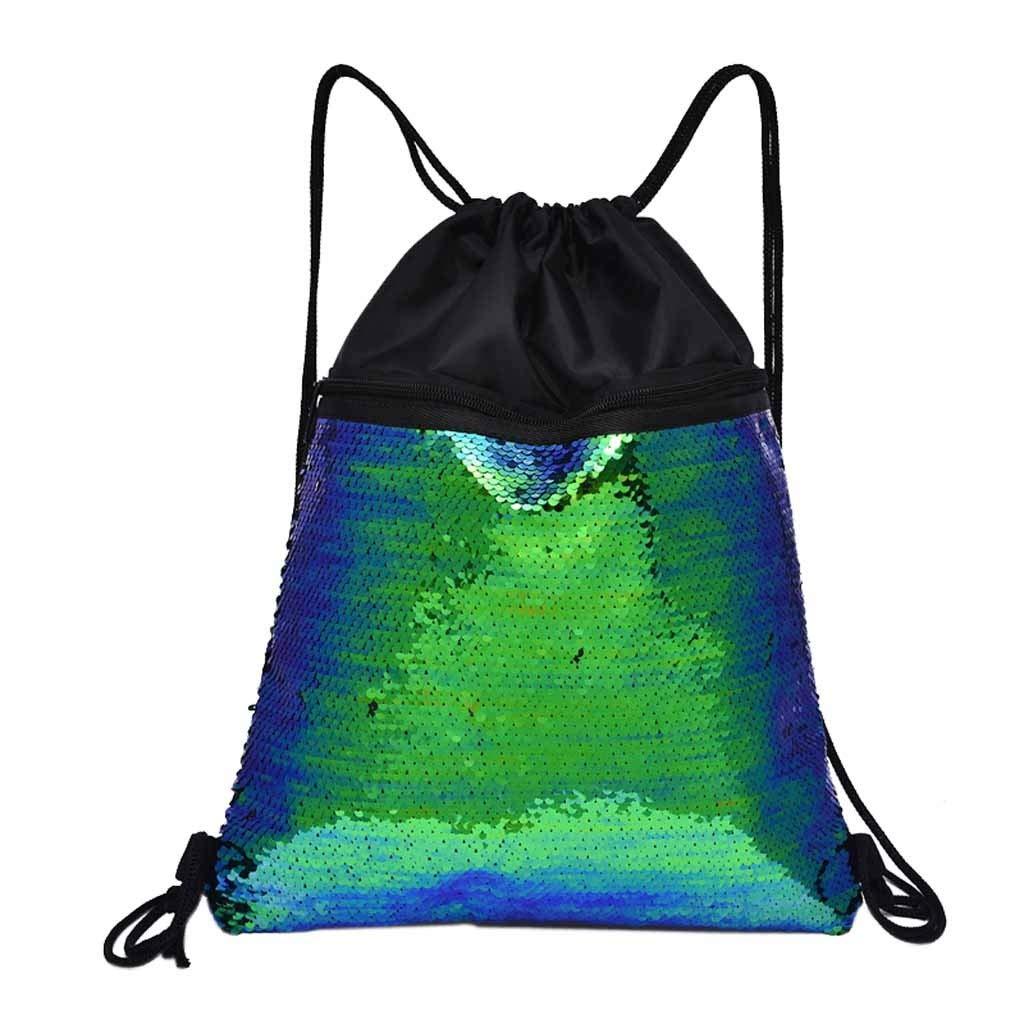 Beach Bag Outdoor Fitness Bag Sequins Bunch Pocket Female Drawstring Backpack Backpack for Women Men Waterproof by Letdown (Image #1)