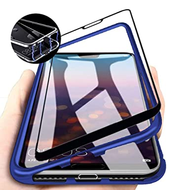 Compatible with for Samsung Galaxy A9 2018/A920F Case Magnetic Adsorption  Ultra thin Built-in Magnets Metal Aluminum Frame Clear Transparent Tempered