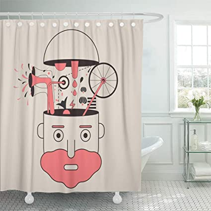 Emvency Decorative Shower Curtain Orange Weird Brainstorming Creative Idea Pink Cool Science Thunder Abstract Beard 66quot
