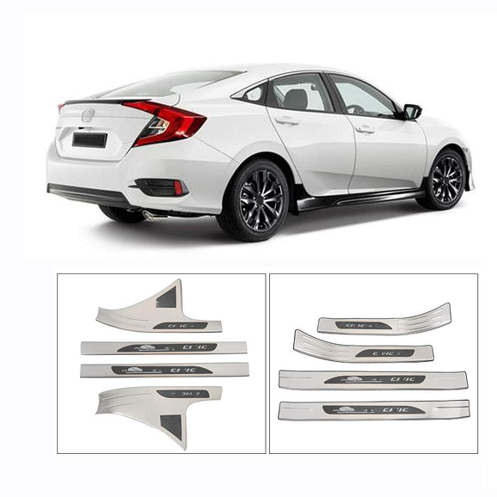 YCGLX Car Interior and Exterior Welcome Door Sill,Suitable for Honda Civic Ten Generations 2018-2019,Sill Protector,Molding Styling,Silver Titanium,Blue