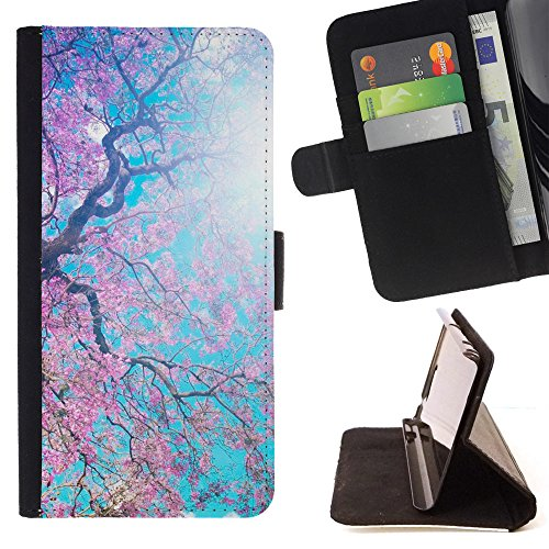 God Garden - FOR Apple Iphone 5 / 5S - Blooming Spring - Glitter Teal Purple Sparkling Watercolor Personalized Design Custom Style PU Leather Case Wallet Fli
