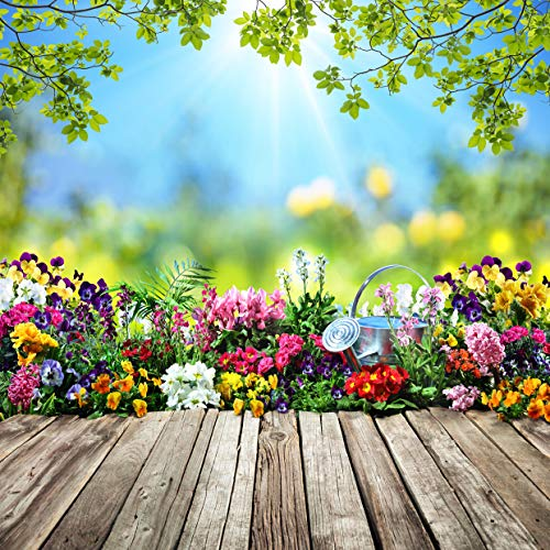 AIIKES 10x10FT Spring Flowers Photography Backdrop Vinyl Leaves Wooden Floor Easter Photography Background Newborn Children Birthday Party Decoration for Photo Studio -