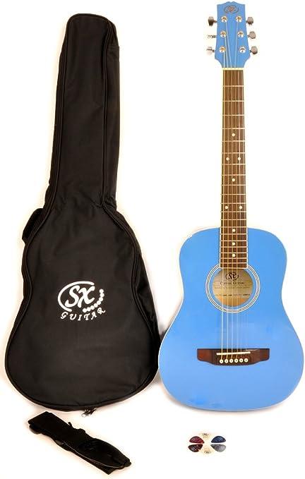 SX RSM 1 34 BBU 3/4 tamaño azul de guitarra acústica de chicle ...