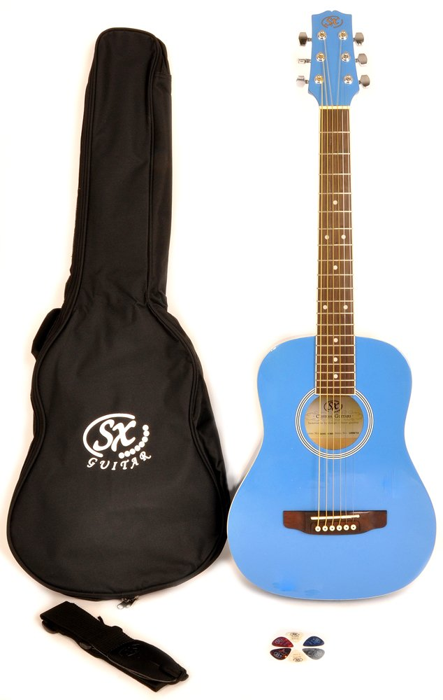 SX RSM 1 34 BBU 3/4 Size Bubblegum Blue Acoustic Guitar Package, Black with Carry Bag, Strap, and Guitar Picks Included by SX (Image #1)