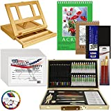 US Art Supply 68-Piece Custom Artist Acrylic Painting Set with, Wood Drawer Table Easel, 24-Tubes Acrylic Colors, 12 Colored Pencils, 2 Graphite Pencils, 9''x12'' Painting Paper Pad, 6-each 8''x10'' Canvas Panels, 100-Sheet Sketch Pad, 80-Page Hardbound Sketc