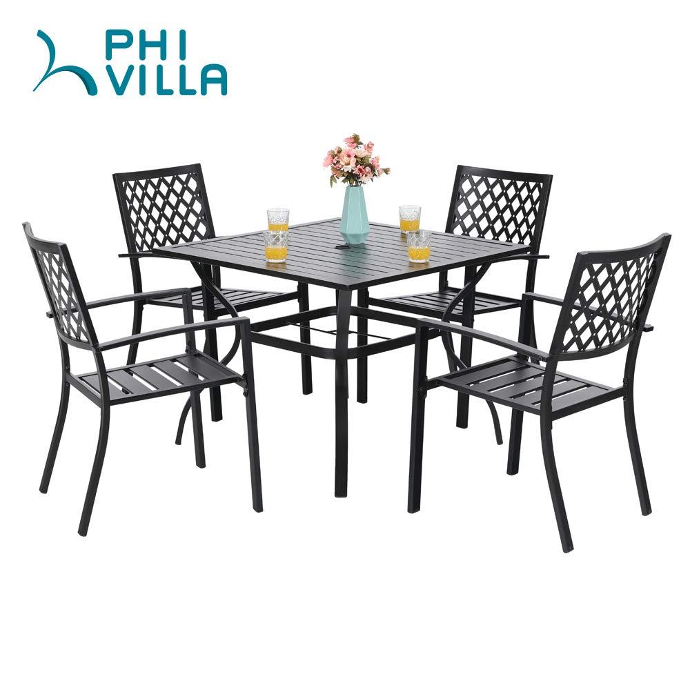 PHI VILLA 37 Outdoor Patio Bistro Metal Steel Slat Dining Table with Umbrella Hole