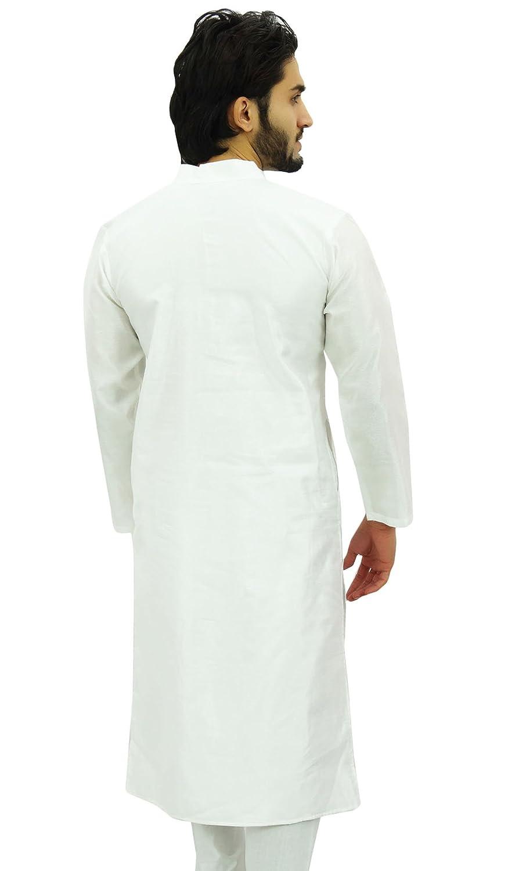 Atasi Mens Plain Ethnic White Dupion Long Shirt Summer Casual Kurta