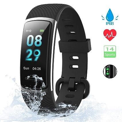 kungix Pulsera Actividad Inteligente, Impermeable IP68 Pulsera Inteligente 0,96 Pulgadas Pantalla Color, Monitor Ritmo Cardíaco y Sueño 14 Modos de ...