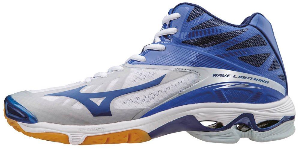Mizuno Herren Wave Lightning Z2 Mid Volleyballschuhe, Bleu/Vert/Blanc  445 EU|Wei? (White/Dazzlingblue/Twilightblue)