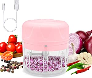 Elihome Electric Mini Food Chopper, Durable Hand Held Food Choppers and Dicers, Blender to Chop Fruits Vegetables Garlic Meats Onion for Salsa Pesto Coleslaw for Kitchen Gadgets Pink 250ML