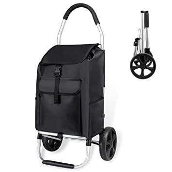 81852a8ade64 MFAVOUR Shopping Trolley, Folding Shopping Trolley on Wheels with  Detachable Bag and Foldable Design, Lightweight and Portable, Max Capacity  45 kg, ...