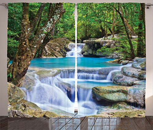 Ambesonne Waterfall Curtains, Fairy Image of Waterfall by The Rocks in Forest Secret Paradise, Living Room Bedroom Window Drapes 2 Panel Set, 108