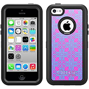 Skin Decal for Otterbox Defender iPhone 5C Case - Victorian Pattern Baby Blue on Pink