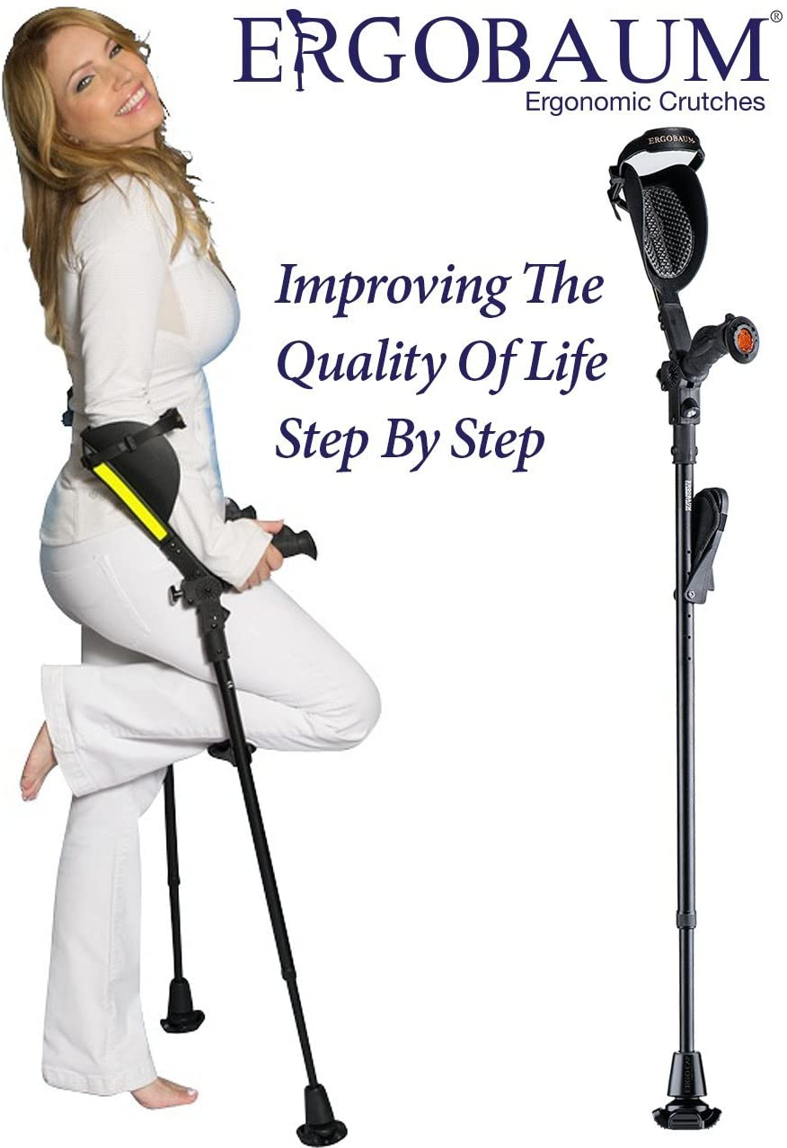 Crutches - Latest Generation Ergobaum by Ergoactives. 1 Pair of The Pain Reduction Crutches