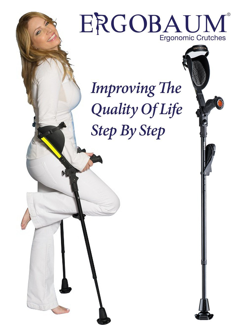 Crutches- Latest Generation Ergobaum By Ergoactives. 1 Pair of the ''Pain Reduction'' Crutches
