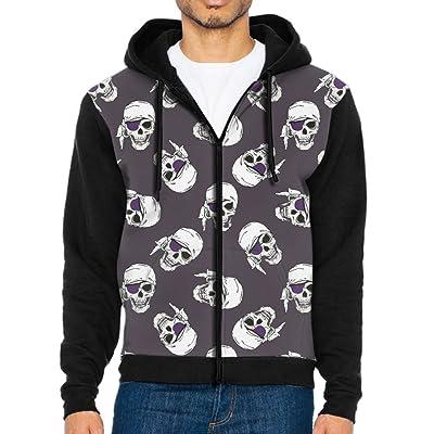 UYILP Men's Pirates Skulls Fashion Casual Athletic Long Sleeve Crew Sweatshirt Zipper Hoodie Pockets
