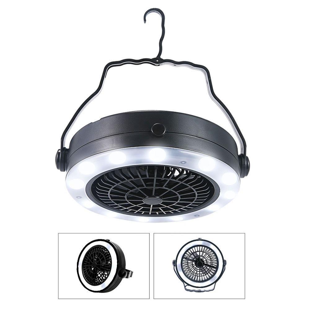 KOBWA Farol portátil 3 en 1 LED para acampada, USB y batería recargable para ventilador de techo con gancho para interior o exterior, camping, senderismo, color negro