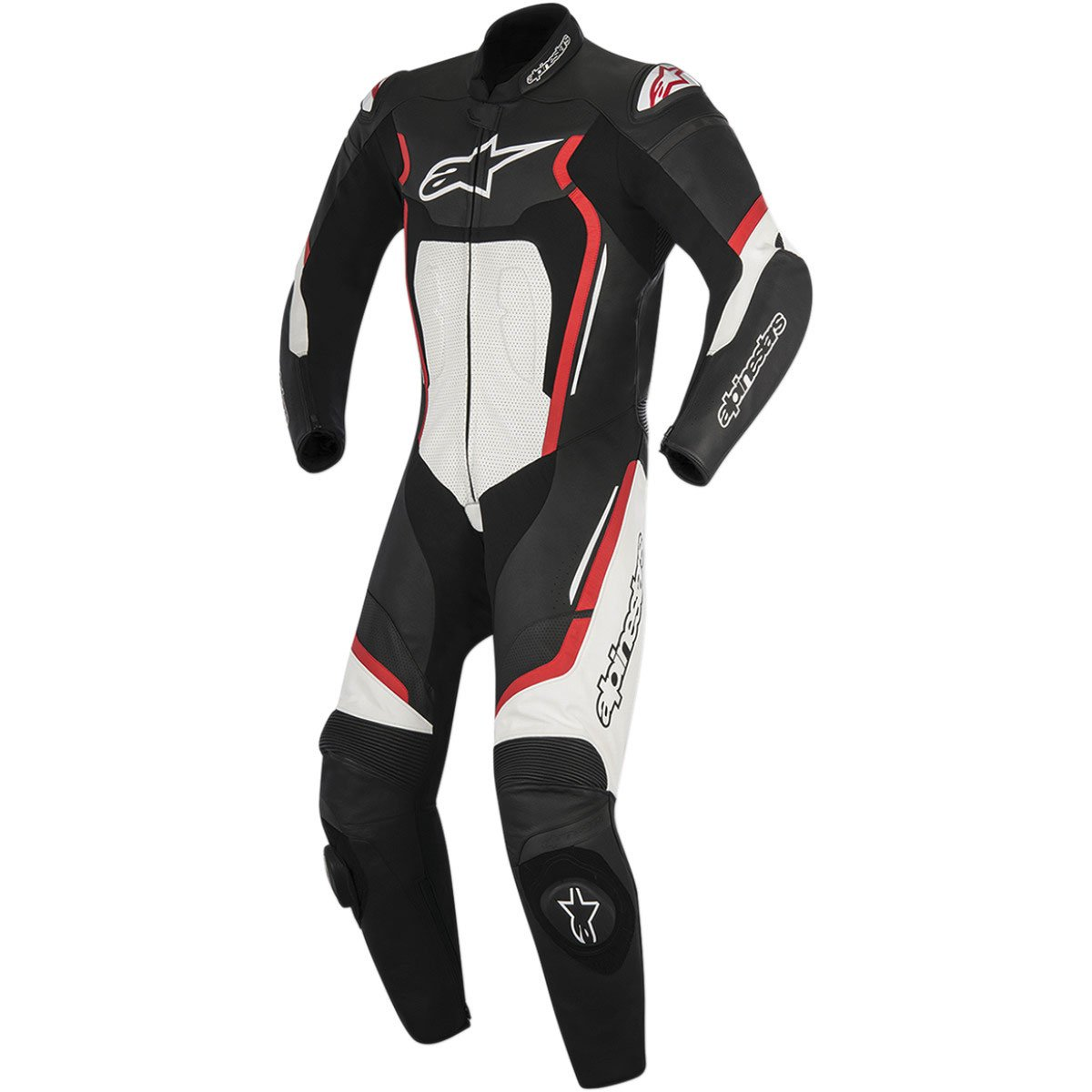 Alpinestars Montegi V2 Men's 1-Piece Street Motorcycle Race Suits - Black/Red/White / 52