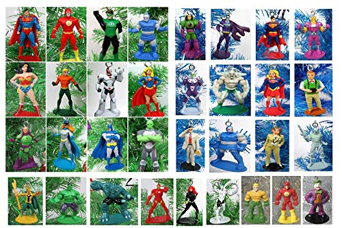"Christmas Ornament Comic Icons Super Hero Deluxe Mini 12 Piece Random Set Featuring Random Super Hero Characters - Shatterproof Plastic Design from 1.5"" to 2.5"" Tall"