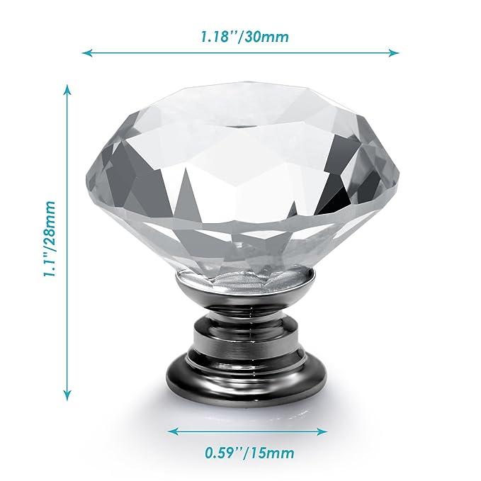 Neewer Kristallglas Diamant-Form-Türknauf Schubladenausziehführung für Schrank