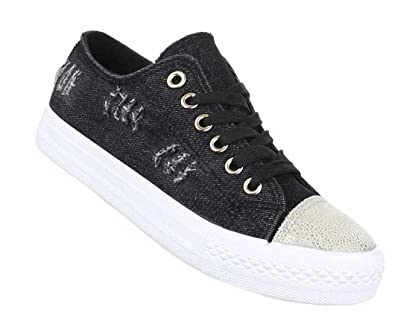 Damen Sneakers Freizeitschuhe Schuhe Turnschuhe Schwarz 36 37 38 39 40 41:  Amazon.de: Schuhe & Handtaschen