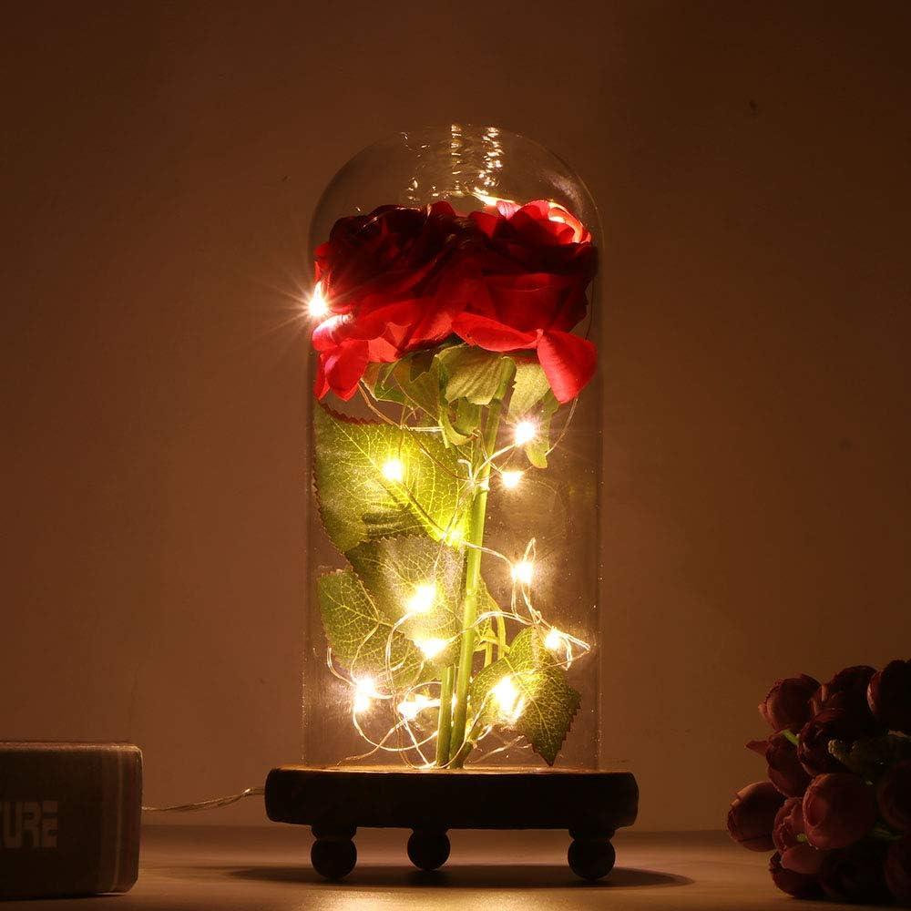 SUNJULY Cúpula de Vidrio Rosa con Luces, 1PCS Beauty and The Beast Rose LED Cálidas Cadenas de luz Blanca con Base de Madera para el Hogar Fiesta de Vacaciones Boda Día de San Valentín Regalo de DIY
