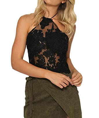 356ec9868cdeb9 Yeesea Women Bralet Shirt Cami Tank Lace Floral Bralette Top Halter Neck  Backless Crop Top Vest Blouse Shirt  Amazon.co.uk  Clothing