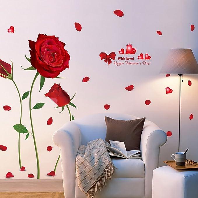 1 opinioni per Rosa Rossa Adesivi Murali Romantico, Camera da Letto Soggiorno Adesivi da Parete