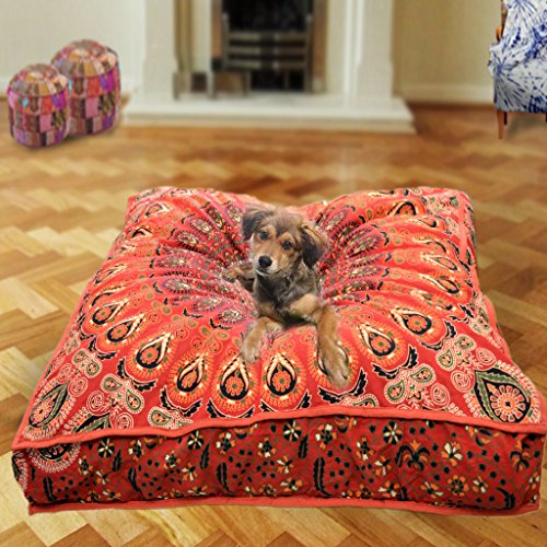 Indian tapestry boho home decor decorative pillow cover, bohemian dog bed, boho decor, handmade floor pillow, boho mandala cushion cover, indian pet beds made by mandala tapestry (Cover Only)