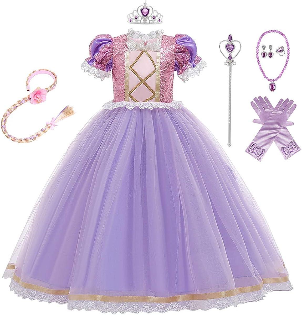 MYRISAM Rapunzel Princess Halloween Dress Sofia Costume Deluxe Party Fancy Dress Up for Girls w//Gloves Jewelry Accessories