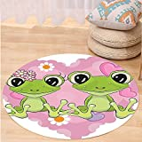 VROSELV Custom carpetLove Decor Collection Two Cartoon Frogs On A Background Of Heart In Love Happiness Flowers Bedroom Living Room Dorm Round 72 inches