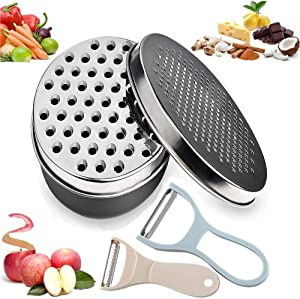 LAZYSUNNY Cheese Grater with Food Storage Container, Graters for Cheese, Nutmeg, Citrus, Butter, Fruit, Chocolate, Vegetables, Ginger and Garlic, Box Grater for Kitchen