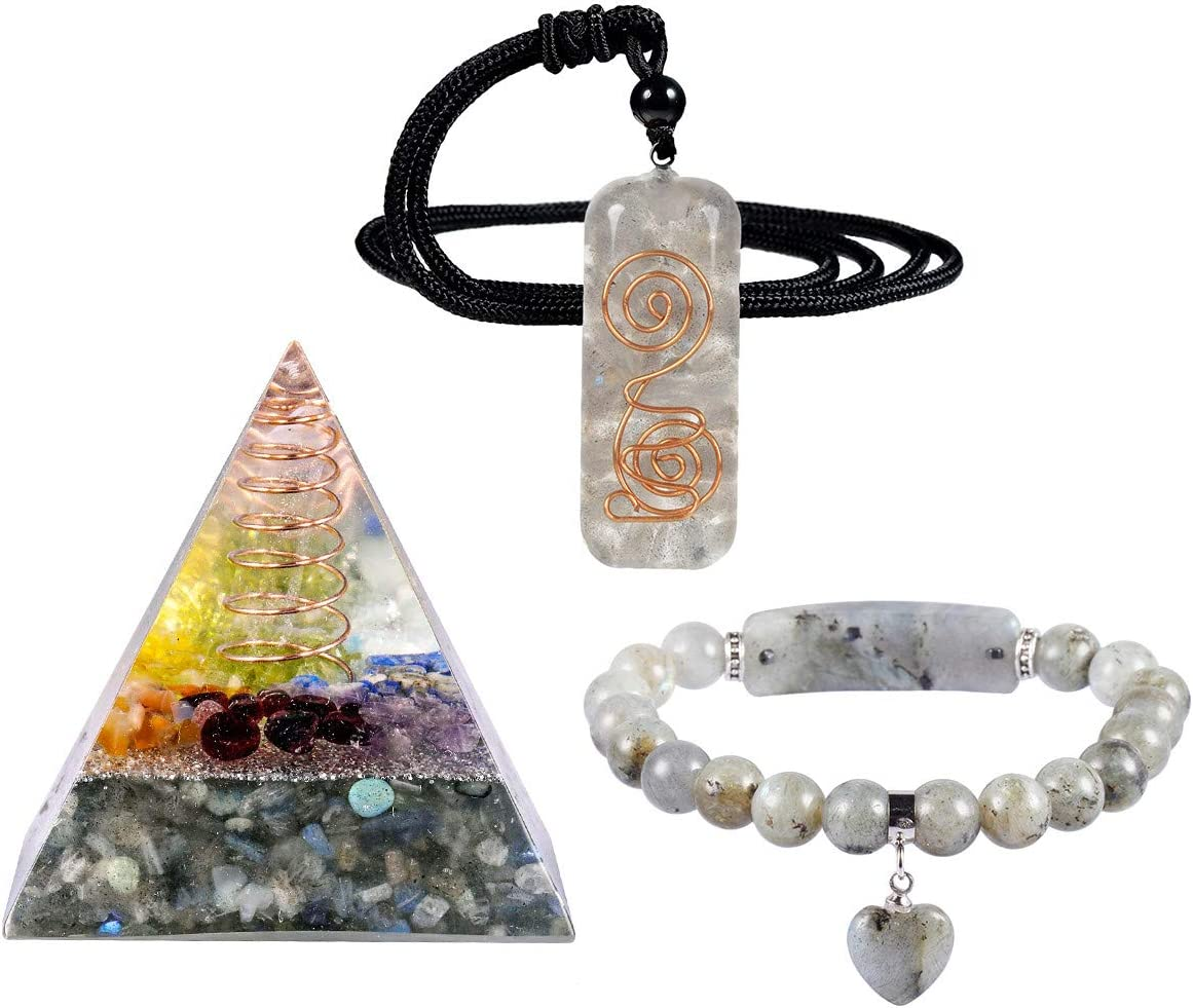mookaitedecor Labradorite Crystal Healing Set of 3, Energy Orgone Pyramid & Stone Pendant & Bracelet Kits for Chakra Reiki Meditation Balancing