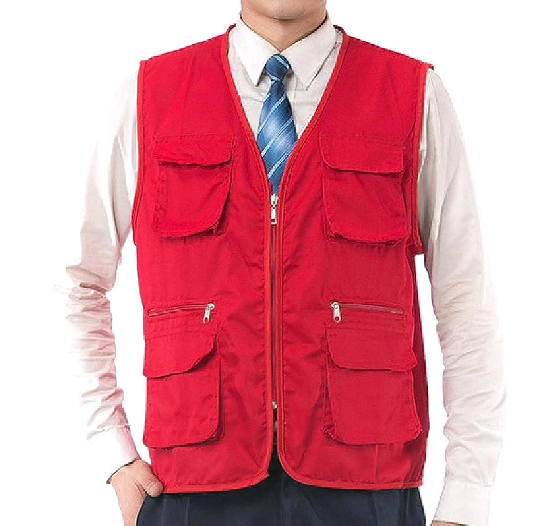 SportsX Men Textured Sleeveless Cargo Work Photographer Fishing Vest
