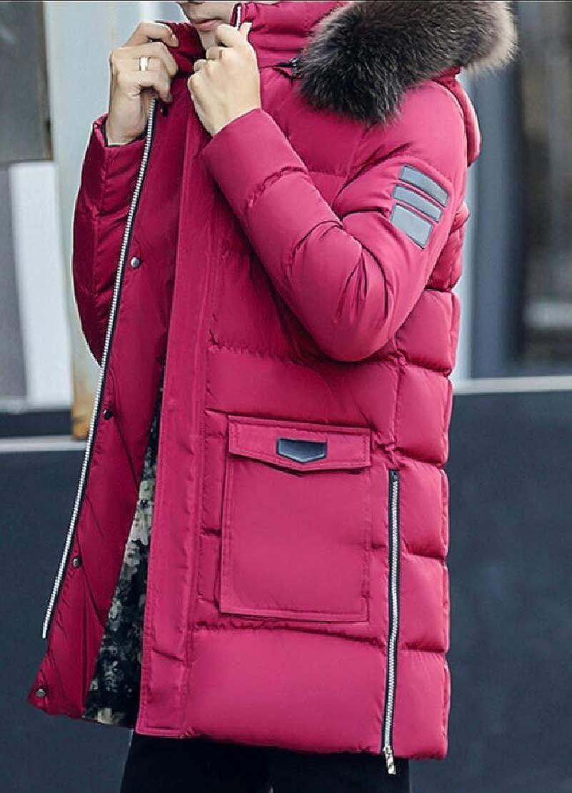 Qiangjinjiu Mens Casual Fur Hooded Warm Outwear Jacket Winter Puffer Coat