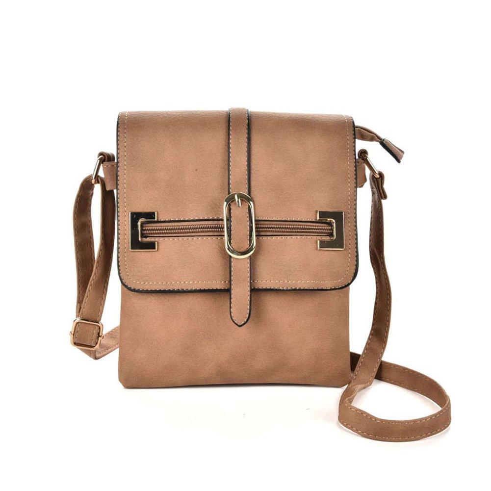 GLITZALL Women's Crossbody Messenger Bag for work Shoudle Bag Casuel Satchel Purse Apricot