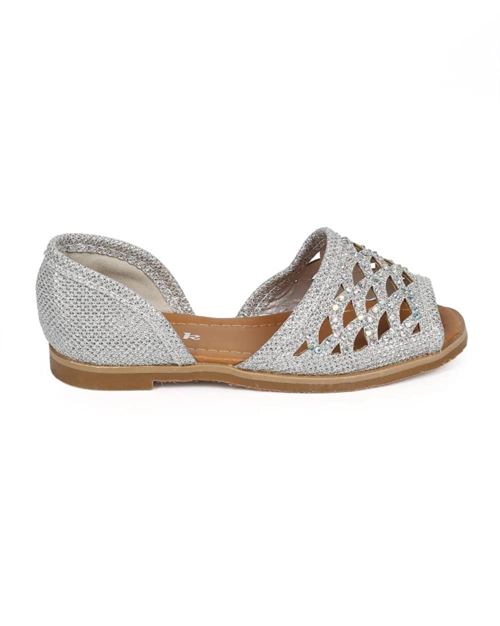 Link Glitter Studded Hollow Out Peep Toe Dorsay Flat DF03 Silver Toddler//Little Girl//Big Girl