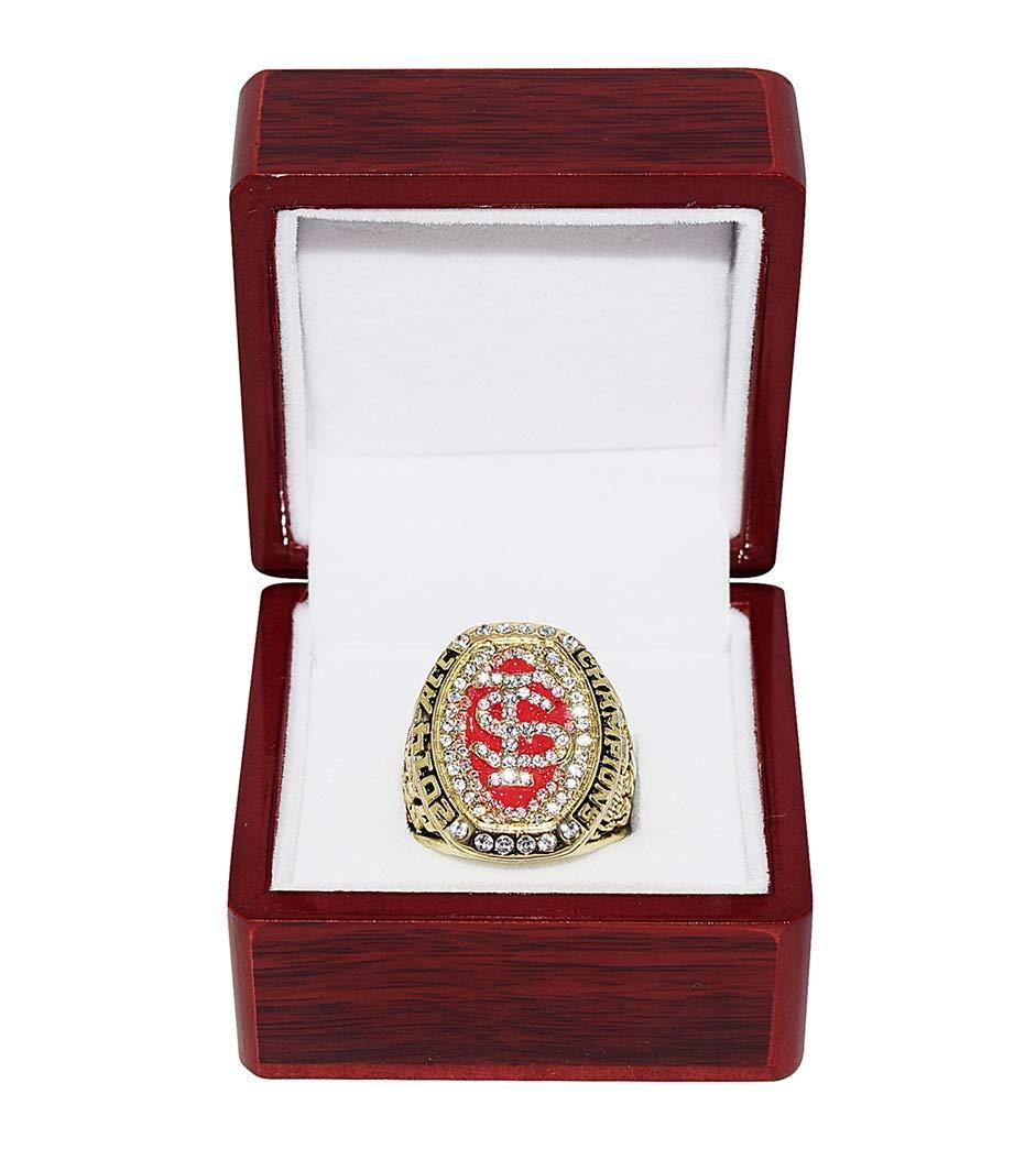 FLORIDA STATE UNIVERSITY SEMINOLES (Roberto Aguayo) 2014 ACC NATIONAL CHAMPIONS FSU Collectible Replica Gold NCAA Football Championship Ring with Cherrywood Display Box