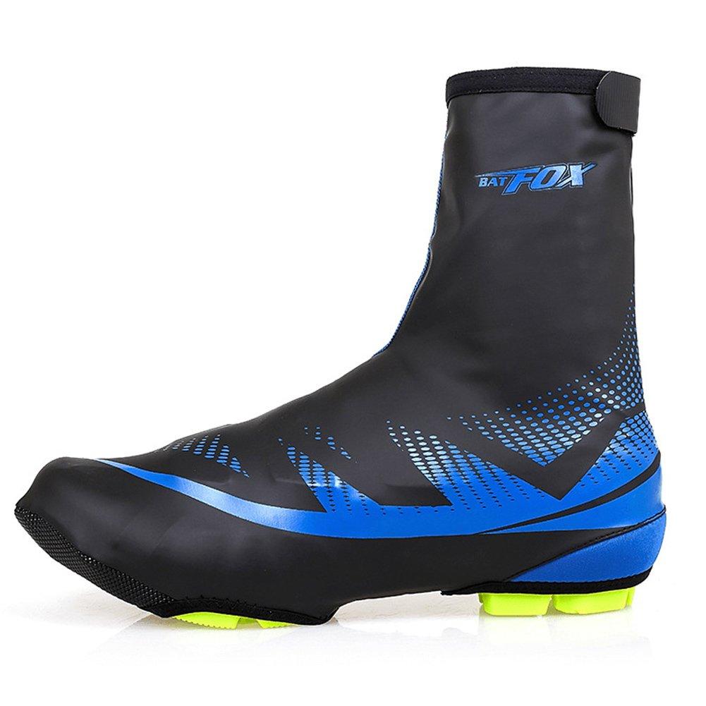 Tentock ciclismo cubrir zapatos impermeable reutilizable invierno bicicleta cubierta para zapatos con cálido de forro polar, blue, M