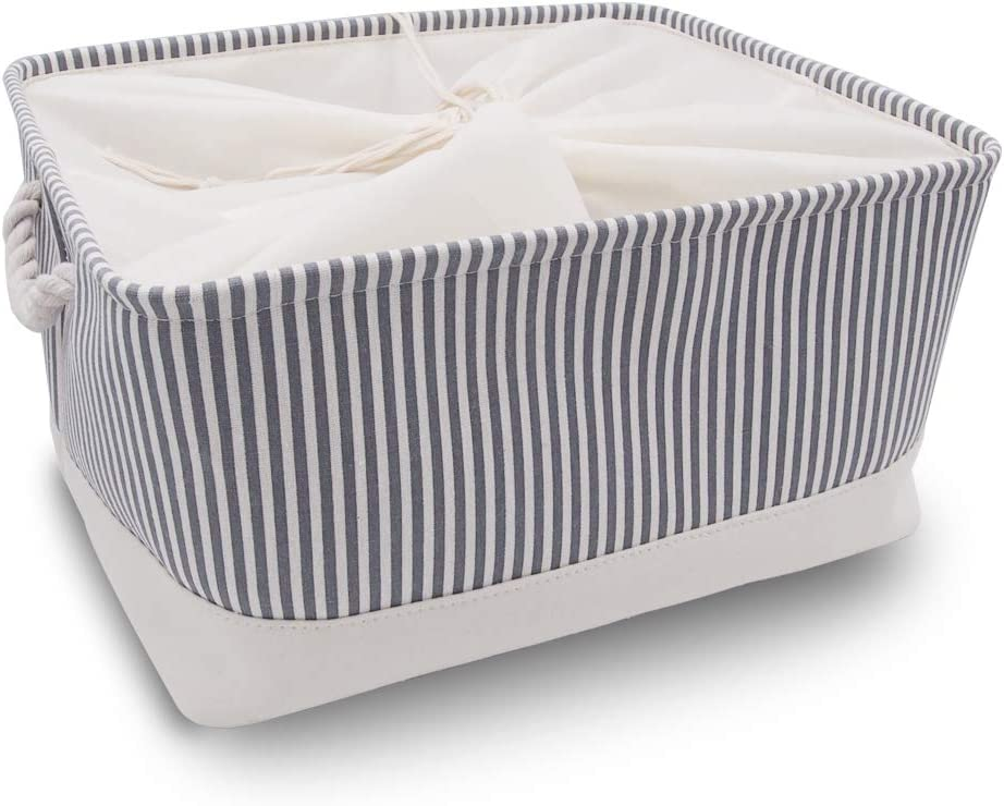 Washable Collapsible Thickened Canvas Fabric Storage Box with Handles (XLarge, Grey Stripe)