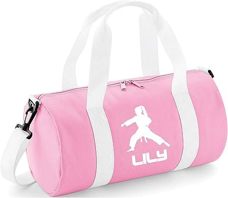 Kids Personalised Flying Kick Karate Barrel Bag Martial Arts Boys Sports Gym Kit