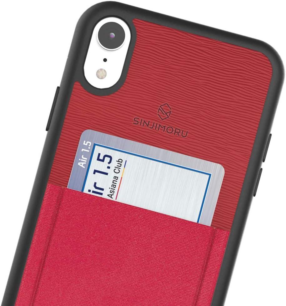 Sinjimoru iPhone XR Case with Card Holder, Slim Card Wallet Case. Sinji Pouch Case for iPhone XR, Red