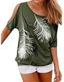 Pxmoda Womens Casual Cold Shoulder T-Shirt Flowy Swing Tops (Run Small, Free Expedited)