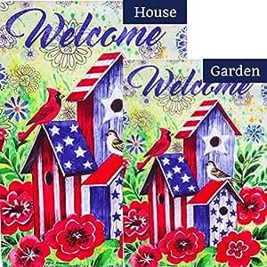 Bandera de pájaros patrióticos americanos (paquete de 2)