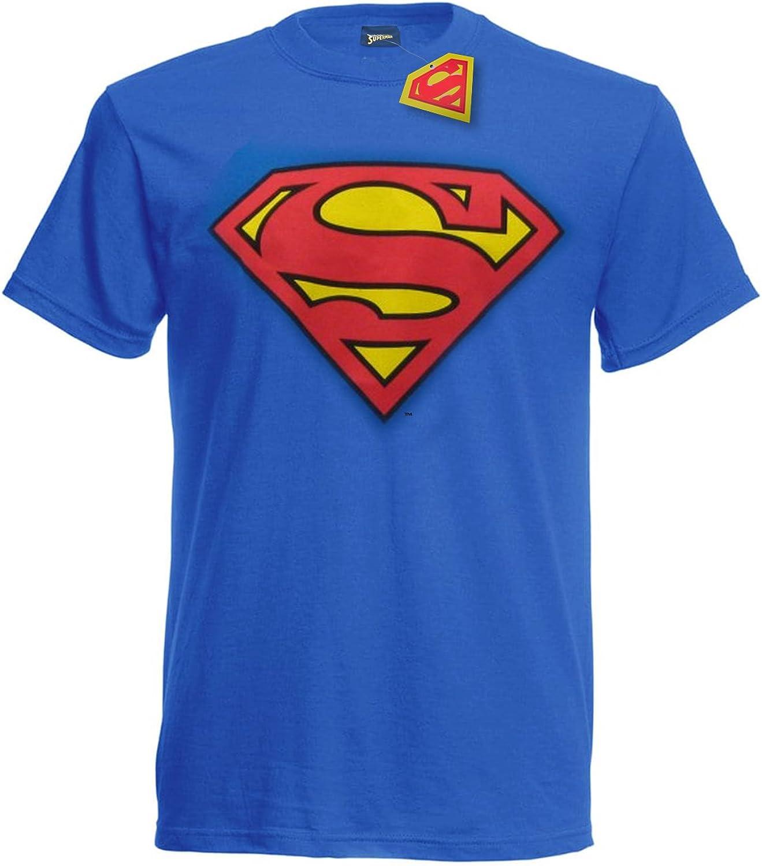 TALLA L. Camiseta de Superman con Logo Vintage clásico - Oficial DC Comics