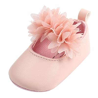 2534fcb81b514 Minuya Chaussures Bébé Fille Cuir Souple Antidérapant Fleur Princesse  Chaussures Mary Jane Flats 0-18 Mois
