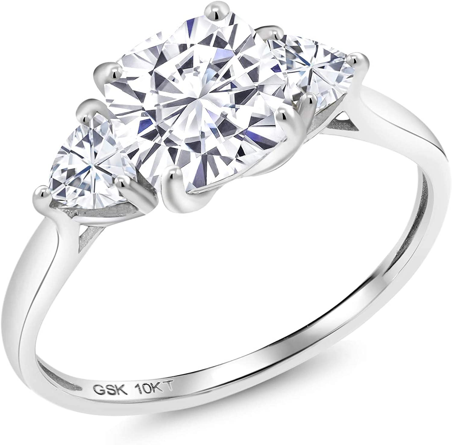 Gem Stone King 10K White Gold Created Moissanite 3-Stone Women Engagement Ring (Cushion Cut 7MM Timeless Brilliant 2.16 Cttw, Available in size 5, 6, 7, 8, 9)