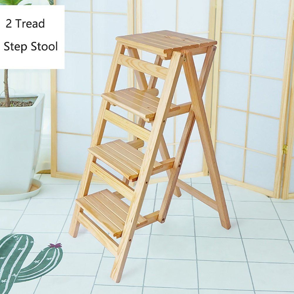 Wood color YXQ-  4 Step Stool Ladder For Adults & Kids Wooden Folding Stepladder Wood Small Foot Stools Indoor Portable shoes Bench Flower Rack Step stool (color   Wood color)