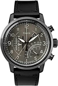 Timex Men's Chronograph Quartz Watch With Leather Strap Tw2R69000, Black Band